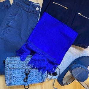 Deep blue silk scarf / wrap with fringe